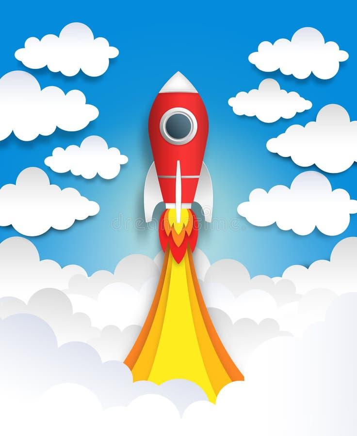 Papieru cięcia rakieta Origami interliniuje sztukę, płaskiej kreskówki pastelową sztukę z chmurami i statek kosmicznego, wielobok ilustracja wektor