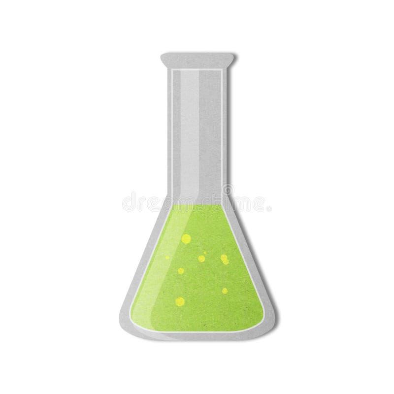 Papieru cięcie chemiczna butelka w laboratorium naukowym jest zlewki ikoną ilustracja wektor