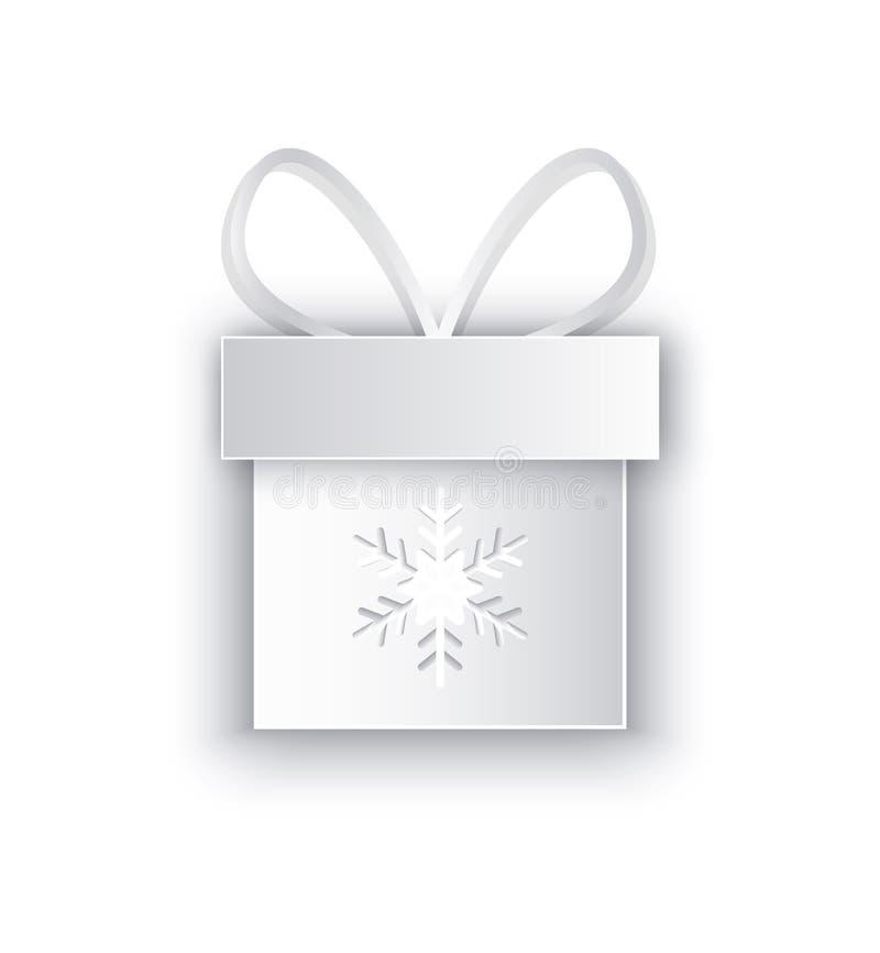 Papieru cięcie Za pudełku z płatek śniegu, Dekorującym łękiem royalty ilustracja