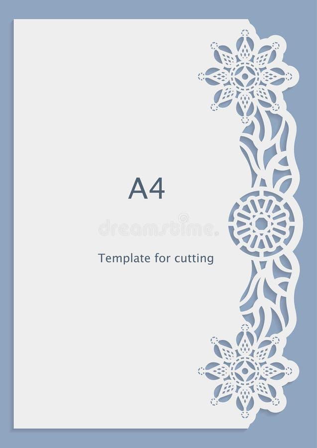 A4 papieru koronki kartka z pozdrowieniami, ślubny zaproszenie, bielu wzór, ciący szablon, szablon gratulacje, dziurkowanie wzór, royalty ilustracja