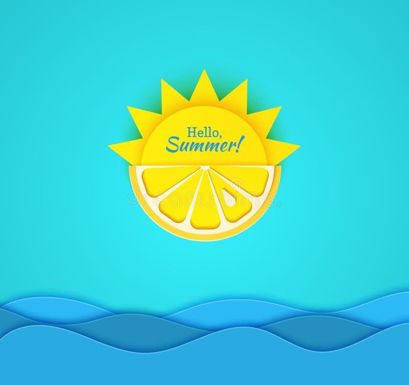 Papieru lata rżnięta karta Przyrodnie słońca i kolor żółty cytryny owoc na błękitnym tle z dennymi falami Wektorowy ilustracyjny  royalty ilustracja