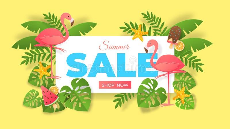 Papieru lata rżnięta sprzedaż Abstrakcjonistyczny sztandar z flamingiem i egzotycznymi liśćmi, oferty specjalnej ulotka Wektorowy ilustracji