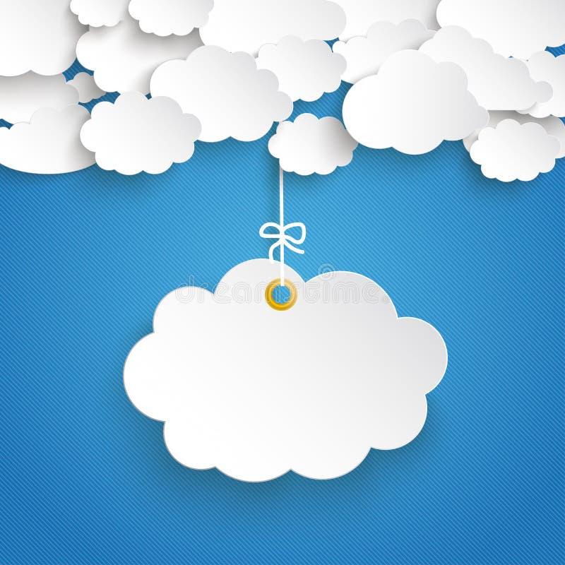 Papieru niebieskiego nieba chmury chmura Paskujący majcher ilustracja wektor
