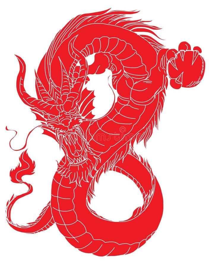 Papieru smoka rżnięty Czerwony plemienny tatuaż Japoński stary smok dla tatuażu Tradycyjny Azjatycki tatuaż stary smoka wektor royalty ilustracja