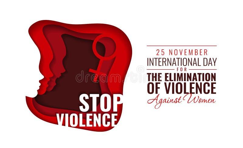 Papiervektor-Illustration für internationalen Tag für die Beseitigung der Gewalttätigkeit gegen Frauen stockbild