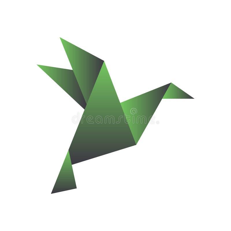Papiervogel in der Origamiart Geometrische Form des gefalteten Papiers Schablone für Logo Vektor lizenzfreie abbildung