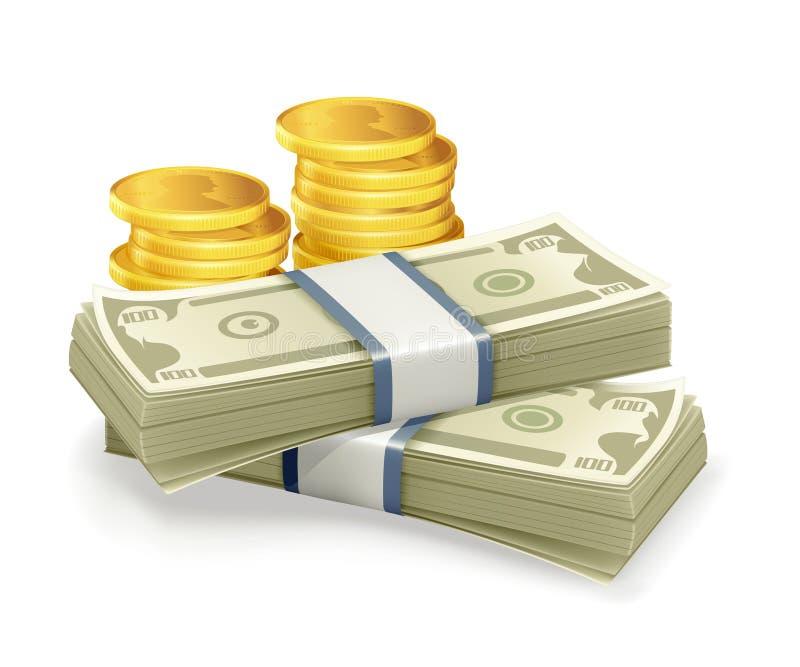 Papierwährung und Münzen lizenzfreie abbildung