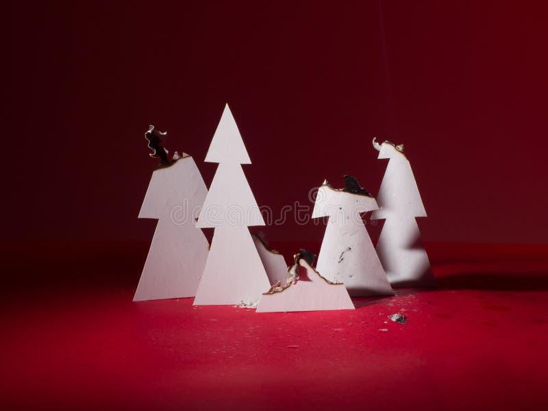 Papierweihnachtsbäume nach einem starken Feuer Verkohlte B?ume lizenzfreies stockfoto