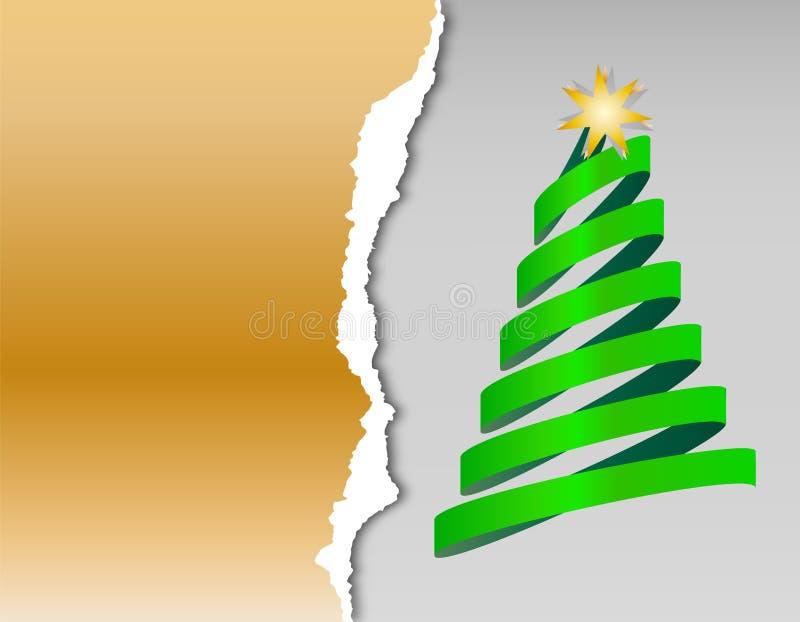 Papierweihnachtskarten mit Weihnachtsbaum vom Band mit Stern lizenzfreie abbildung