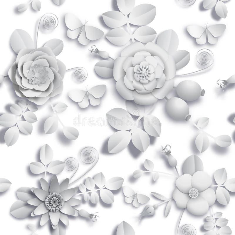 Papierwilde rosafarbene Blumen des handwerks 3D, Hagebuttenbeeren und nahtloses Muster des Schmetterlinges Vektorillustrationsarc lizenzfreie abbildung