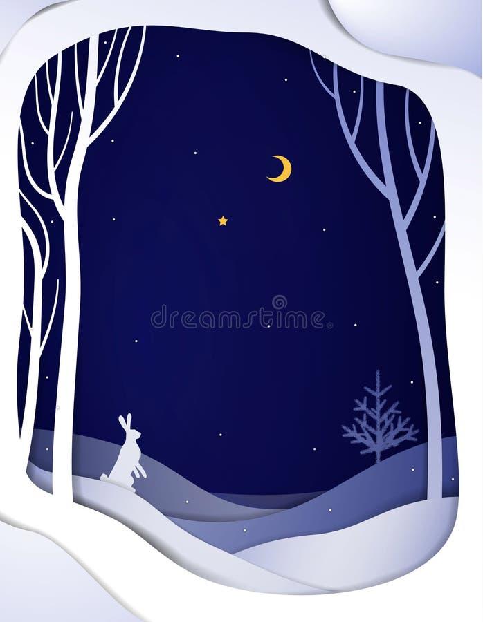 Papierwinterwaldnachtlandschaft mit weißen Hasen und Weihnachtsbaum, Papierwintermärchenhintergrund, stock abbildung