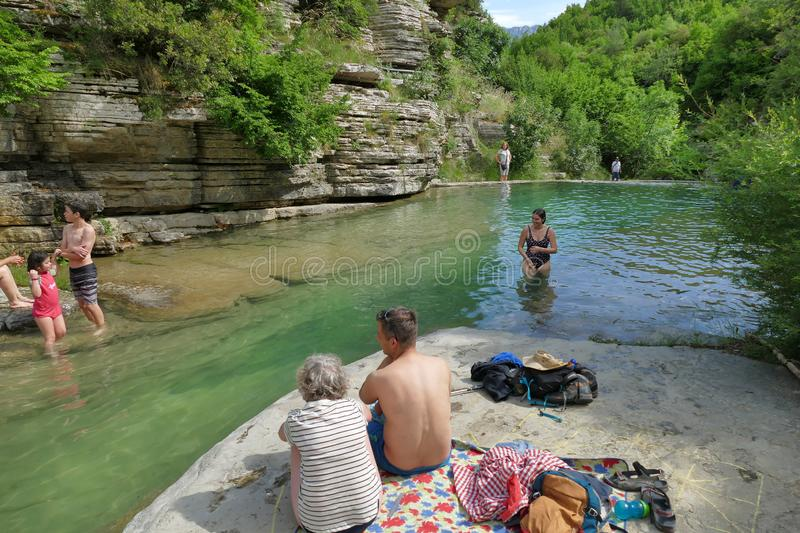 Papigo, Greece, June 24 2019, Papingo Rock Pools, are many beautiful ponds formed by the river. That appear as small natural pools along the course of the water royalty free stock photos
