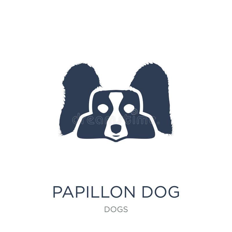 Papillon狗象 在白色的时髦平的传染媒介Papillon狗象 向量例证
