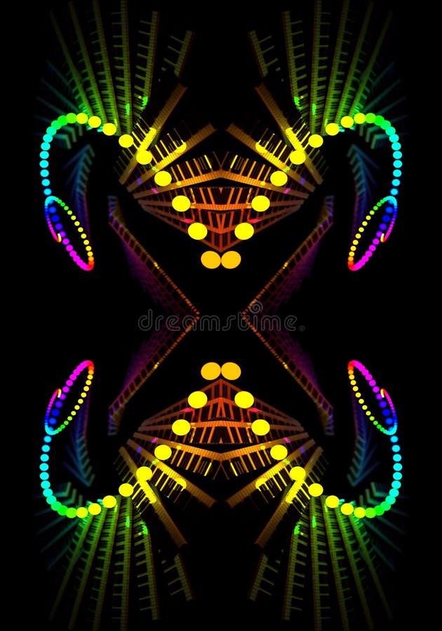 Papillon énergique multicolore artistique généré par ordinateur du résumé 3d le beau a formé l'illustration de modèles de fractal illustration libre de droits