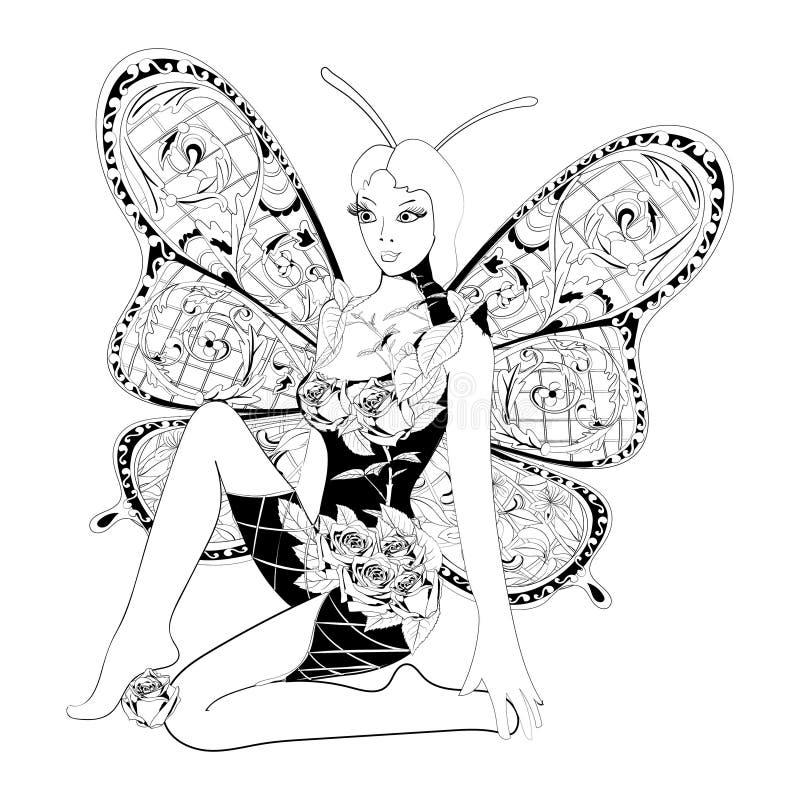 Papillon abstrait de fille d'imagination illustration de vecteur