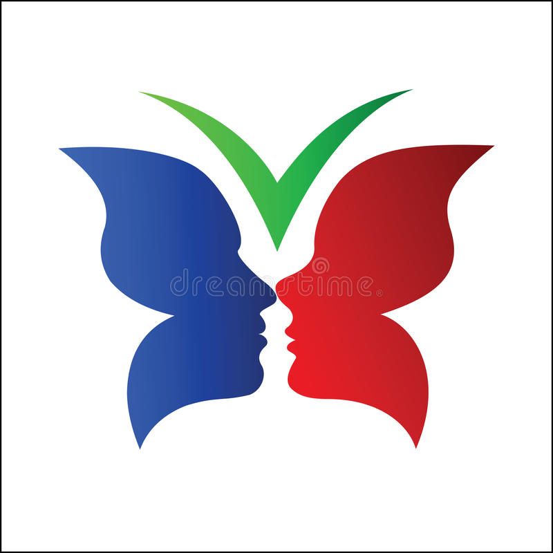Papillon avec la silhouette de couples illustration de vecteur