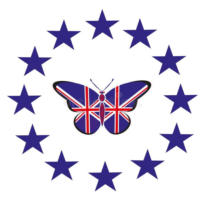 Papillon avec le drapeau du R-U illustration de vecteur