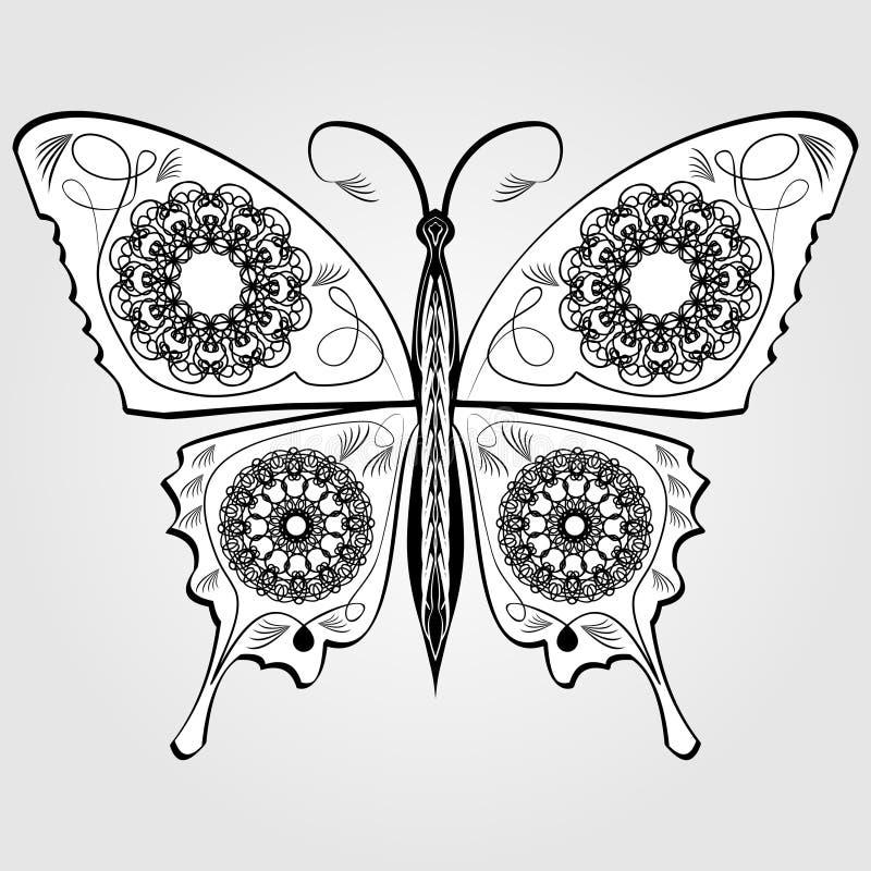 Papillon avec le modèle de dentelle sur des ailes, le dessin calligraphique blanc et noir monochromatique sur le fond gris Élémen illustration libre de droits