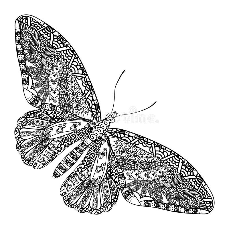 Papillon avec le modèle ethnique de griffonnage Zentangle a inspiré le modèle pour d'anti pages de livre de coloriage d'effort po illustration stock
