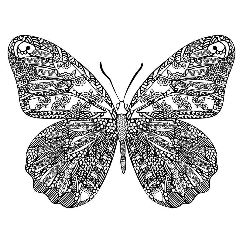 Papillon avec le modèle ethnique de griffonnage Zentangle a inspiré le modèle pour d'anti pages de livre de coloriage d'effort po illustration libre de droits