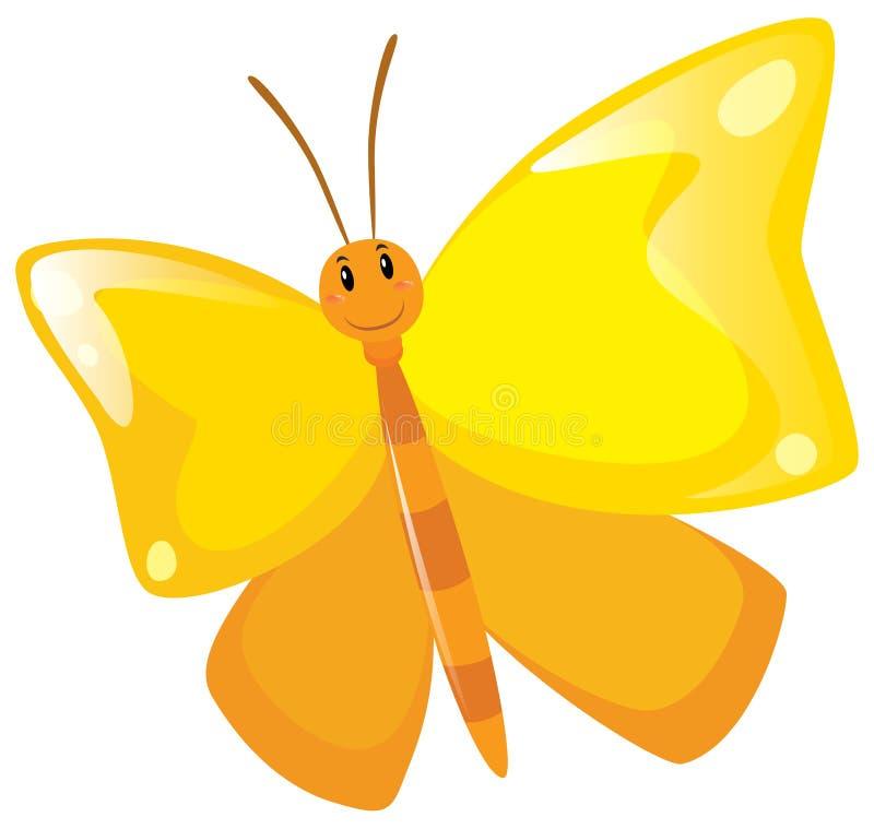 Papillon avec les ailes jaunes illustration de vecteur