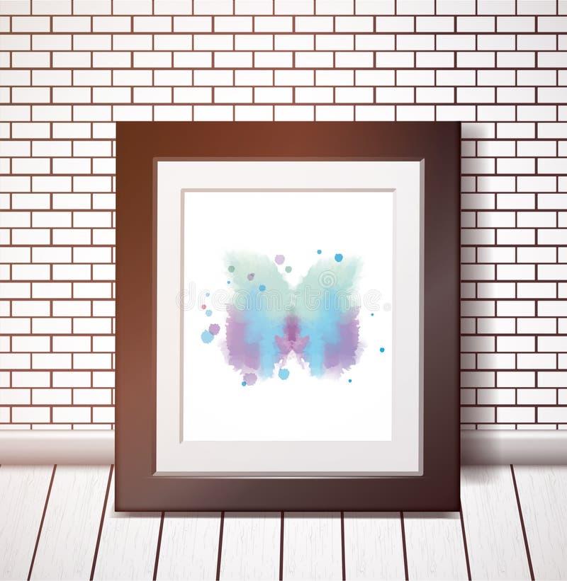 Papillon bleu d'aquarelle dans le cadre noir sur le mur de briques blanc illustration libre de droits