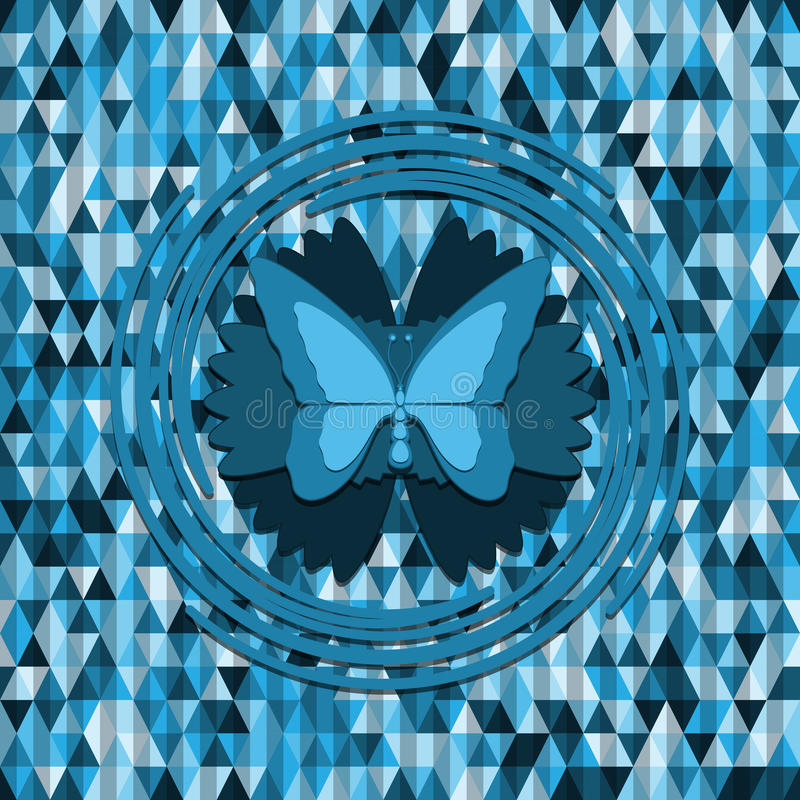 Papillon bleu sur le fond de triangles illustration stock