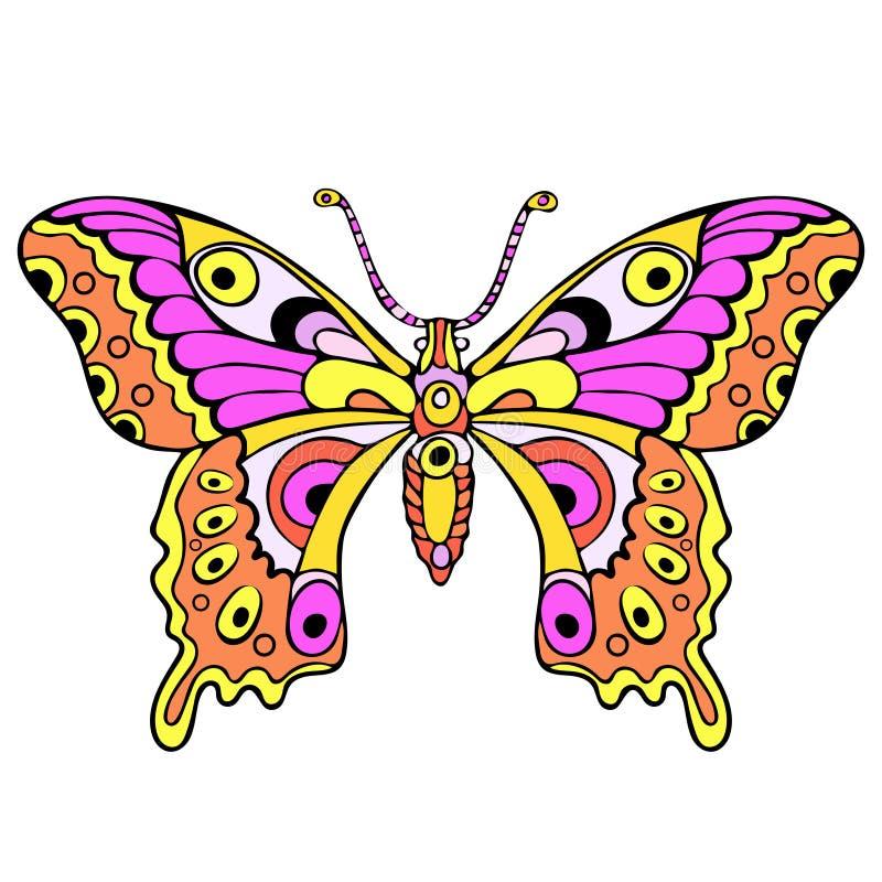 Papillon coloré abstrait, dessin de main de bande dessinée, copie de textile, croquis de tatouage, illustration de vecteur illustration de vecteur