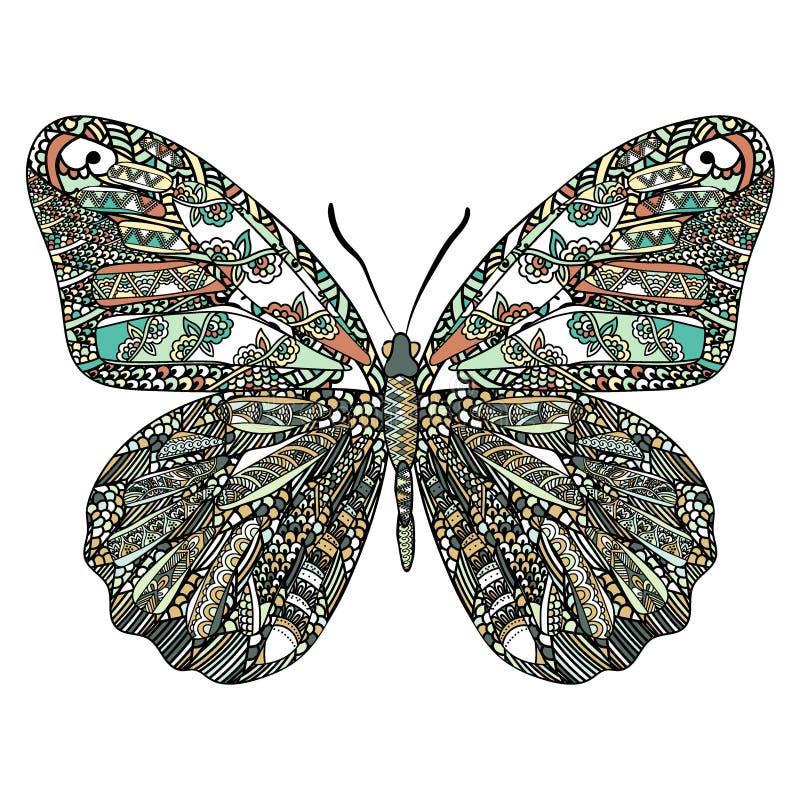 Papillon coloré avec le modèle ethnique de griffonnage Zentangle a inspiré le modèle pour d'anti pages de livre de coloriage d'ef illustration libre de droits