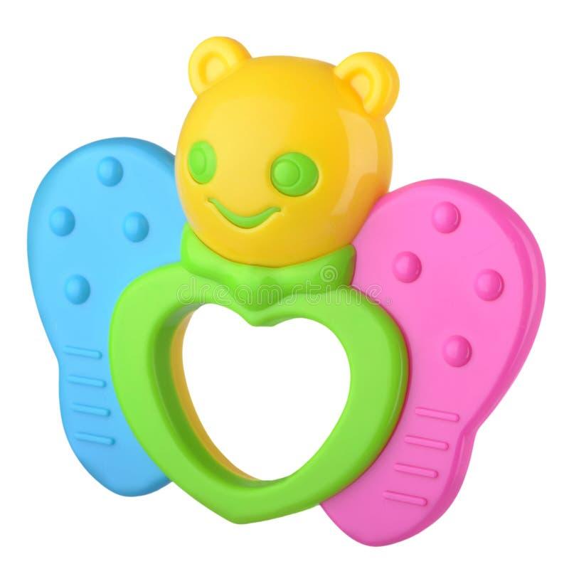 Papillon coloré de hochet de bébé images libres de droits