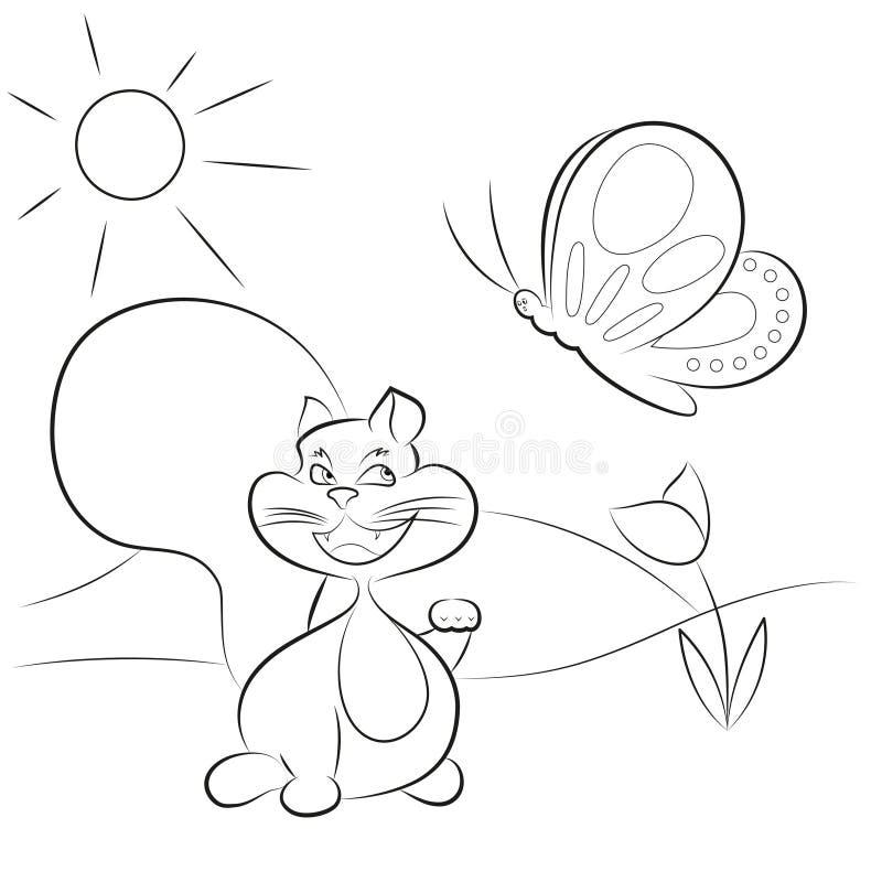 Papillon contagieux de chat, pour la coloration illustration de vecteur