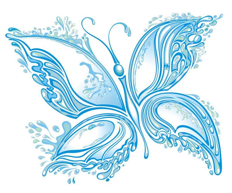 Papillon d'éclaboussure de l'eau illustration stock