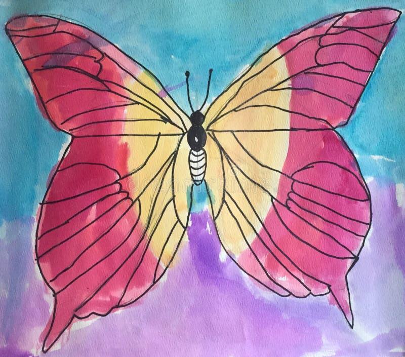 Papillon d'aquarelle images libres de droits