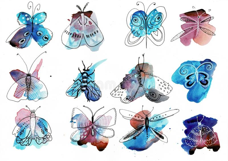 Papillon d'aquarelle d'isolement sur le fond blanc Illustration colorée d'arc-en-ciel de papillon d'aquarelle avec le jet illustration de vecteur