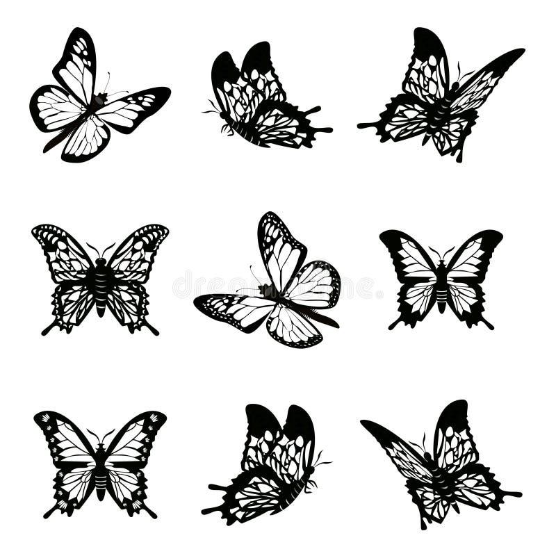 Papillon d'illustration réglée de vecteur d'icône de silhouette illustration libre de droits