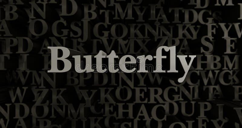 Papillon - 3D a rendu l'illustration composée métallique de titre illustration de vecteur