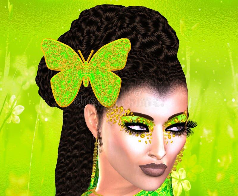 Papillon dans ses cheveux Image colorée d'art de bruit de visage du ` s de femme avec le papillon dans les cheveux images libres de droits