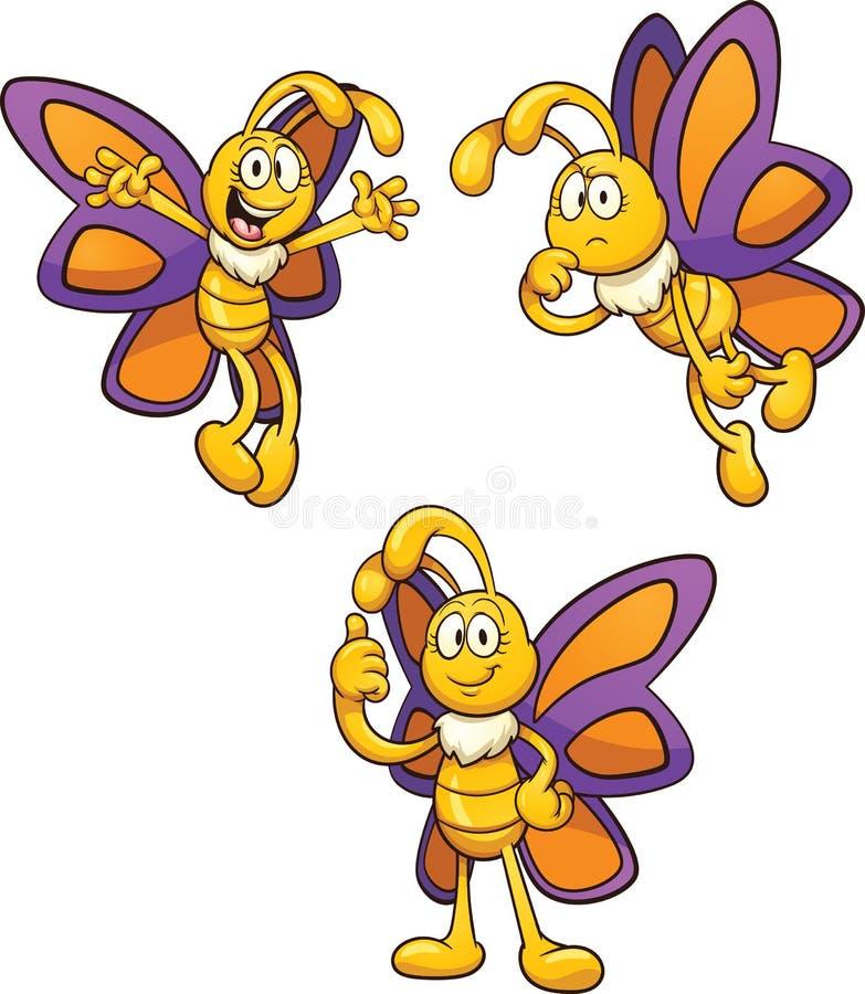 Papillon de bande dessinée illustration de vecteur