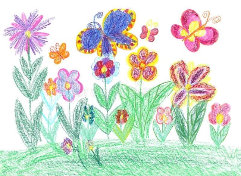 Papillon de dessin d 39 enfant et nature de fleurs illustration stock illustration du conception - Initiatives fleurs et nature ...