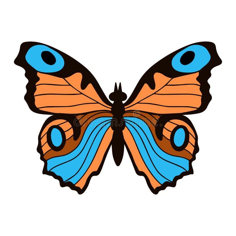 Papillon de monarque r?aliste en couleurs d'isolement sur le fond blanc Illustration de vecteur illustration libre de droits