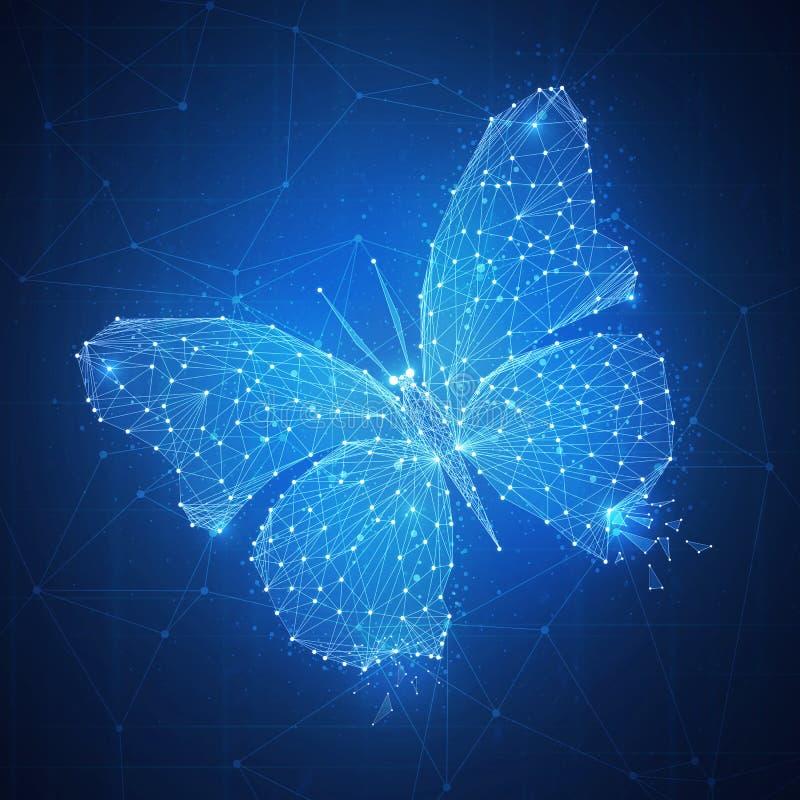 Papillon de polygone sur la bannière de hud de blockchain illustration libre de droits
