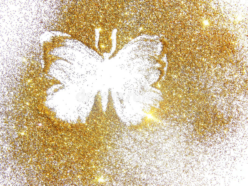 Papillon de scintillement d'or sur le fond blanc photos stock