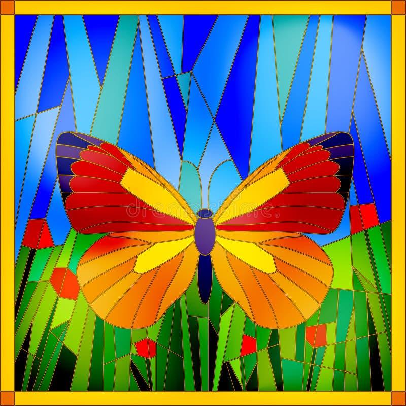 Papillon en verre souillé illustration de vecteur