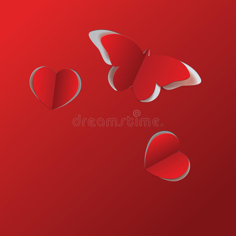 Papillon et coeurs de papier rouges illustration stock