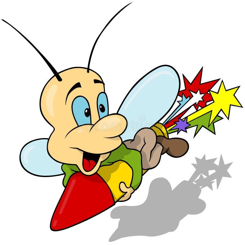 Papillon et feux d'artifice Rocket illustration libre de droits