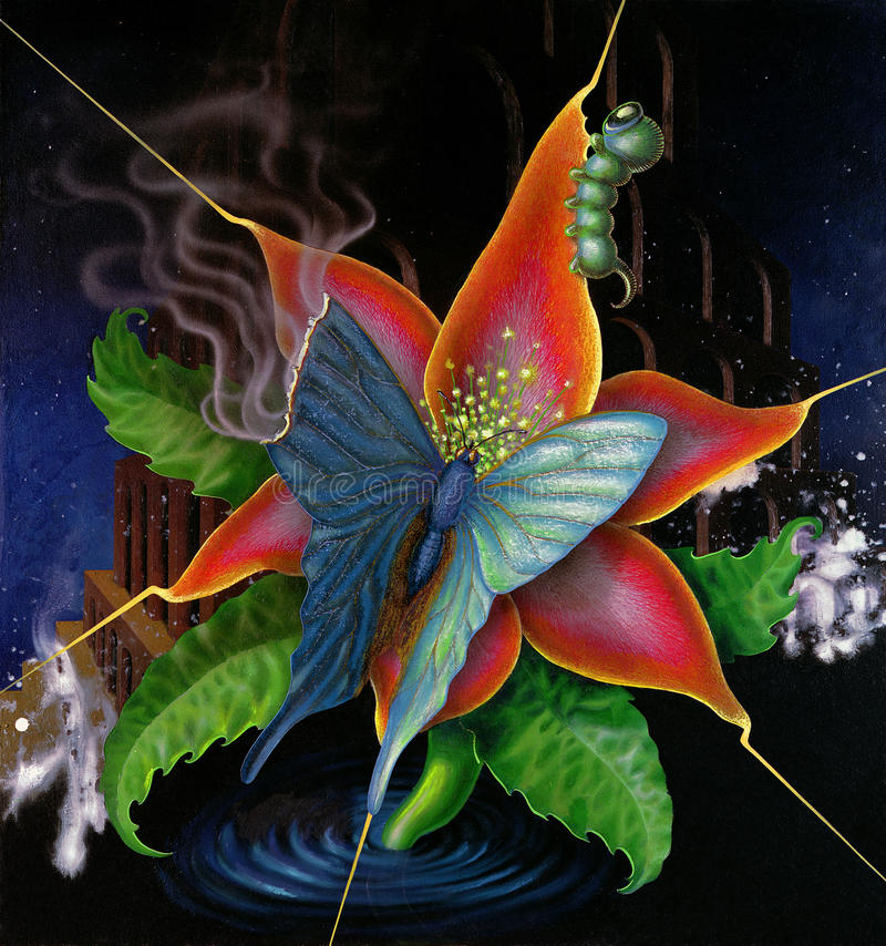 Papillon et fleur surr alistes illustration stock image - Image papillon et fleur ...