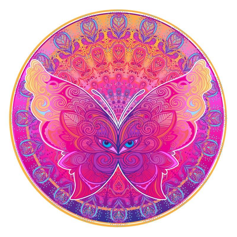Papillon fleuri au-dessus de modèle rond coloré de mandala Tapotement ethnique illustration de vecteur