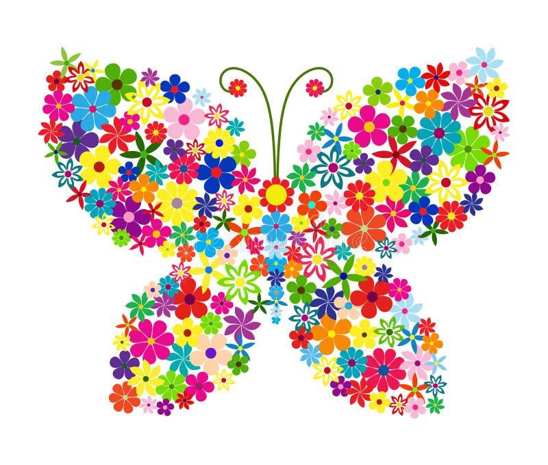 Papillon floral sur la silhouette noire illustration de vecteur