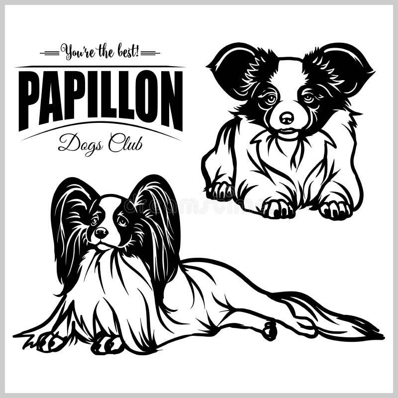 Papillon - illustrazione isolata insieme di vettore su fondo bianco illustrazione vettoriale