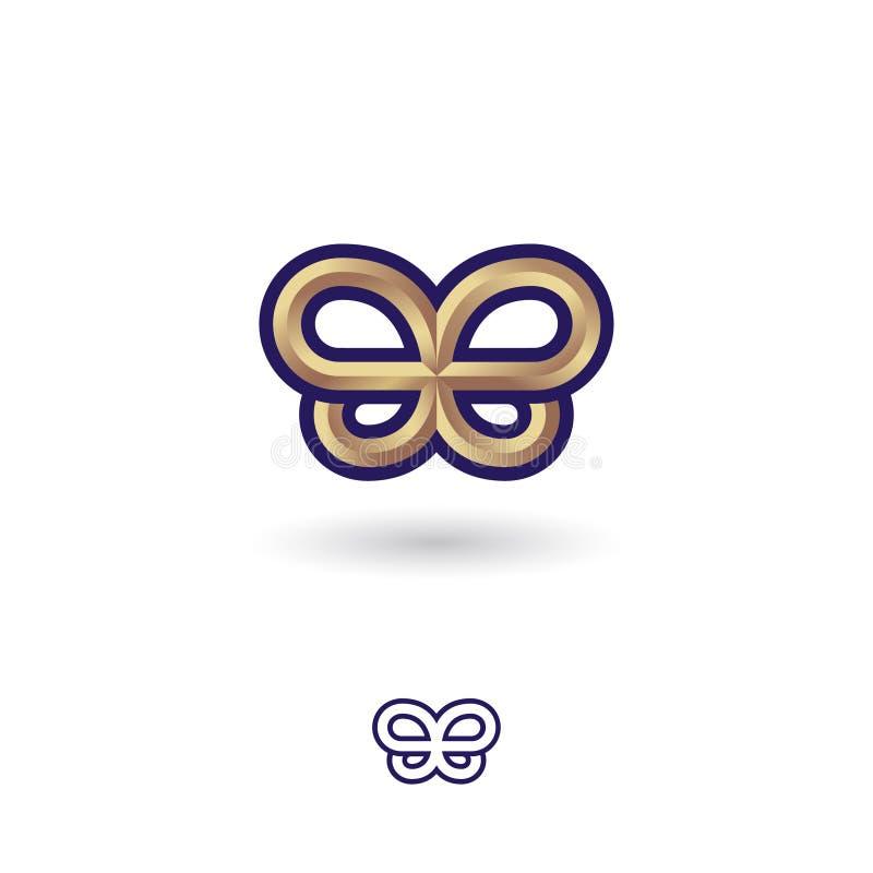 Papillon métallique d'or Symbole d'or sur un fond blanc Double B aiment un papillon illustration stock